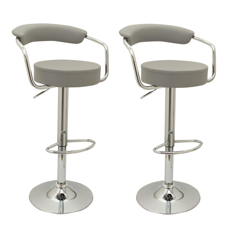 2 Designer Faux Leather Kitchen Breakfast Bar Stools Swivel Gas Lift Chairs Ebay