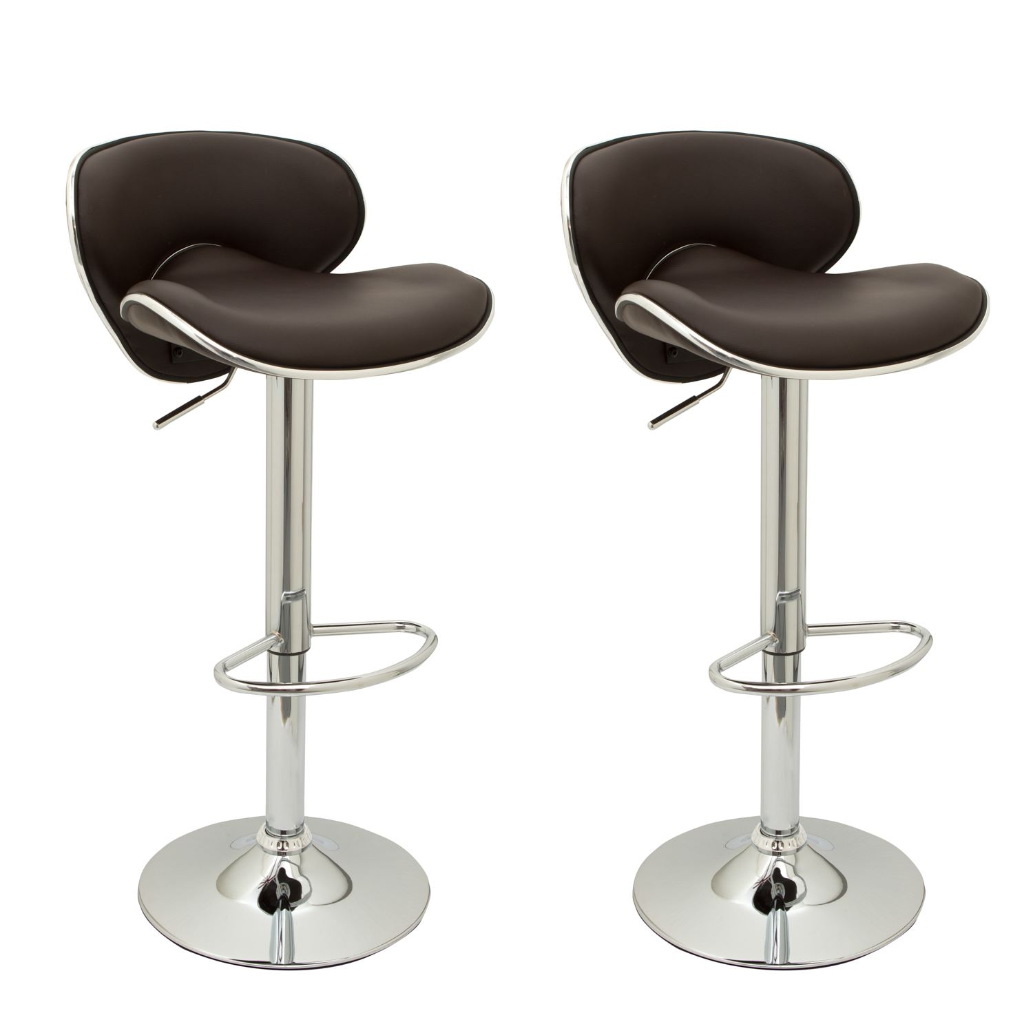 2 Designer Faux Leather Kitchen Breakfast Bar Stools Swivel Gas Lift Chairs Ebay
