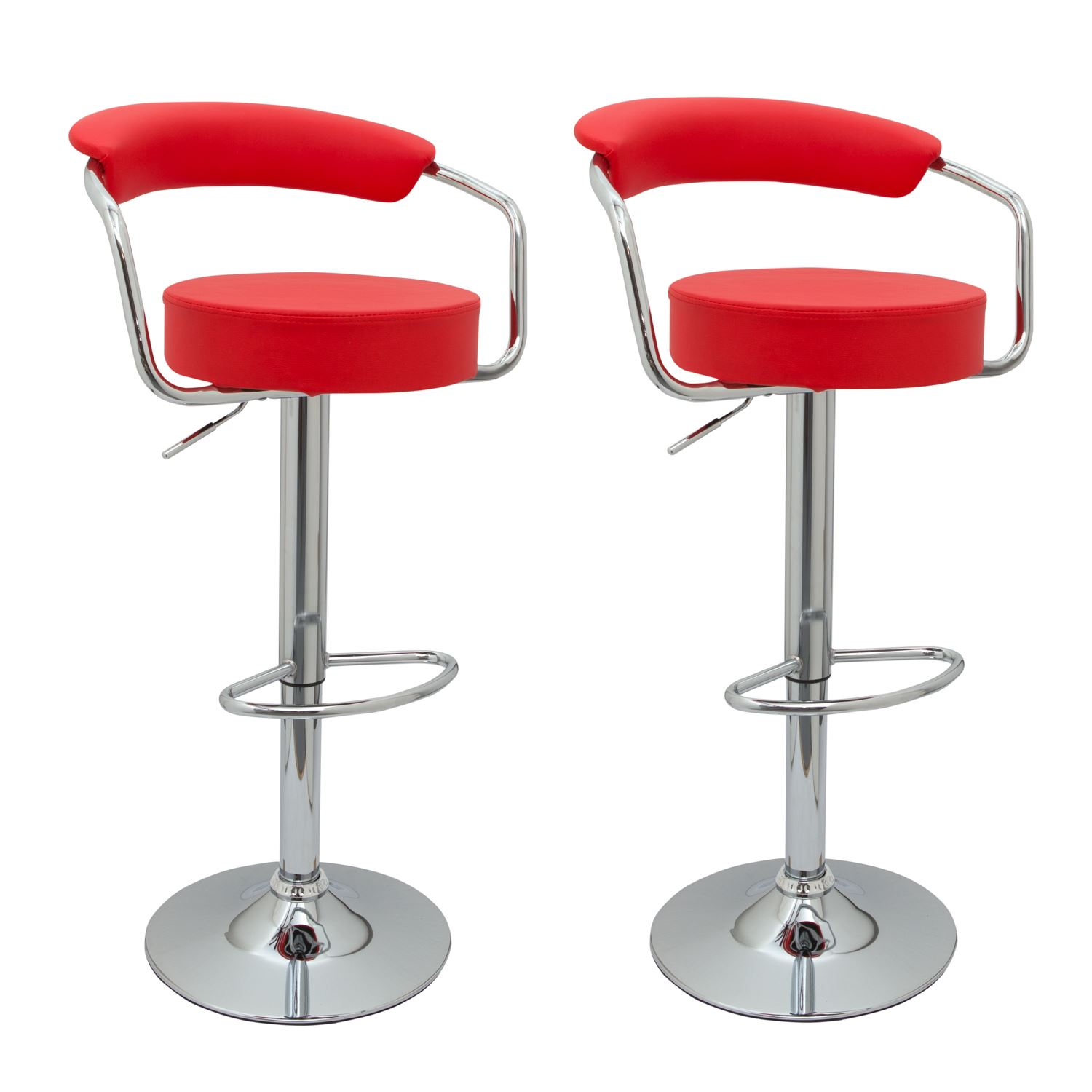 2 designer faux leather kitchen breakfast bar stools for Luxury leather bar stools
