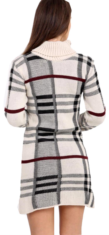 Nouveau Femme Tricot Carreaux Col polo Manches longues Bodycon Midi Robe