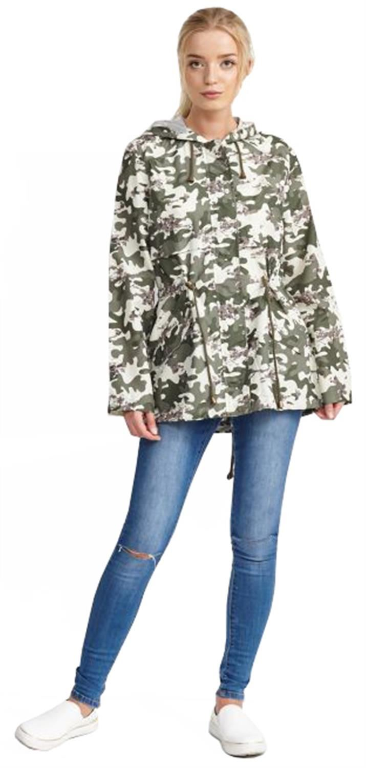 Ladies-Plus-Size-Plain-Printed-Parka-Hooded-Fishtail-Polyester-Mac-Raincoats thumbnail 26