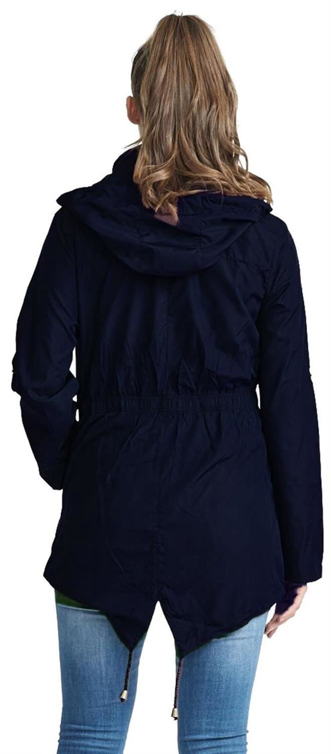 Ladies-Plus-Size-Plain-Printed-Parka-Hooded-Fishtail-Polyester-Mac-Raincoats thumbnail 40