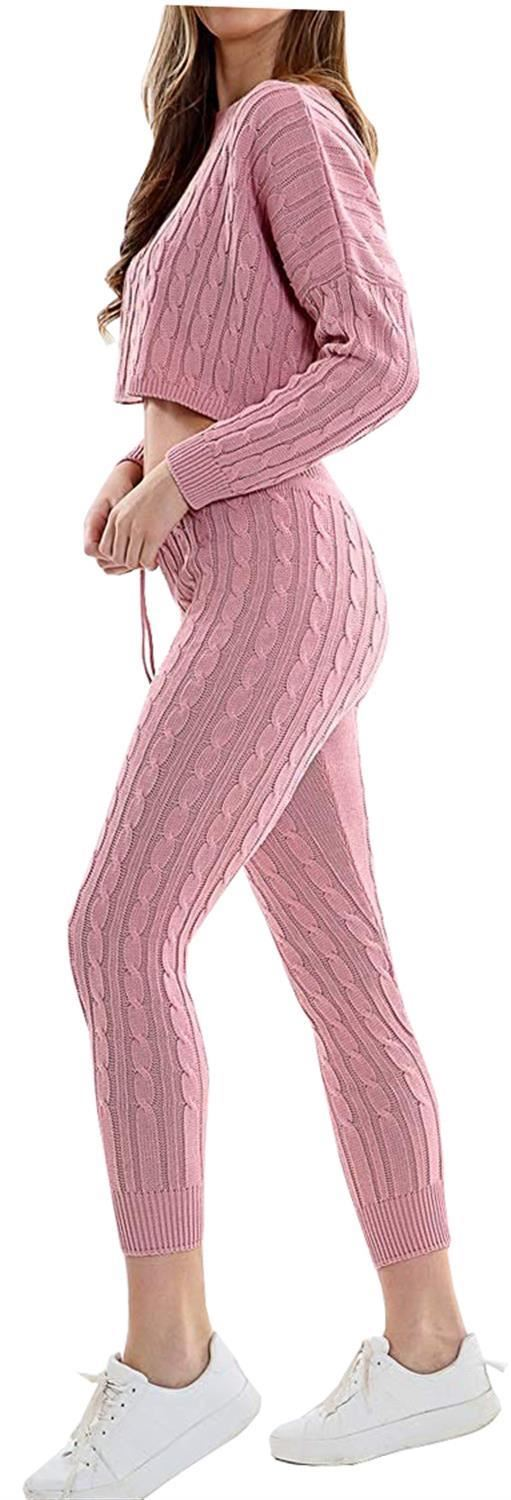 Ladies Off Shoulder Cable Knitted Two Piece Co-Ord Sweatshirt Sweater Tracksuit