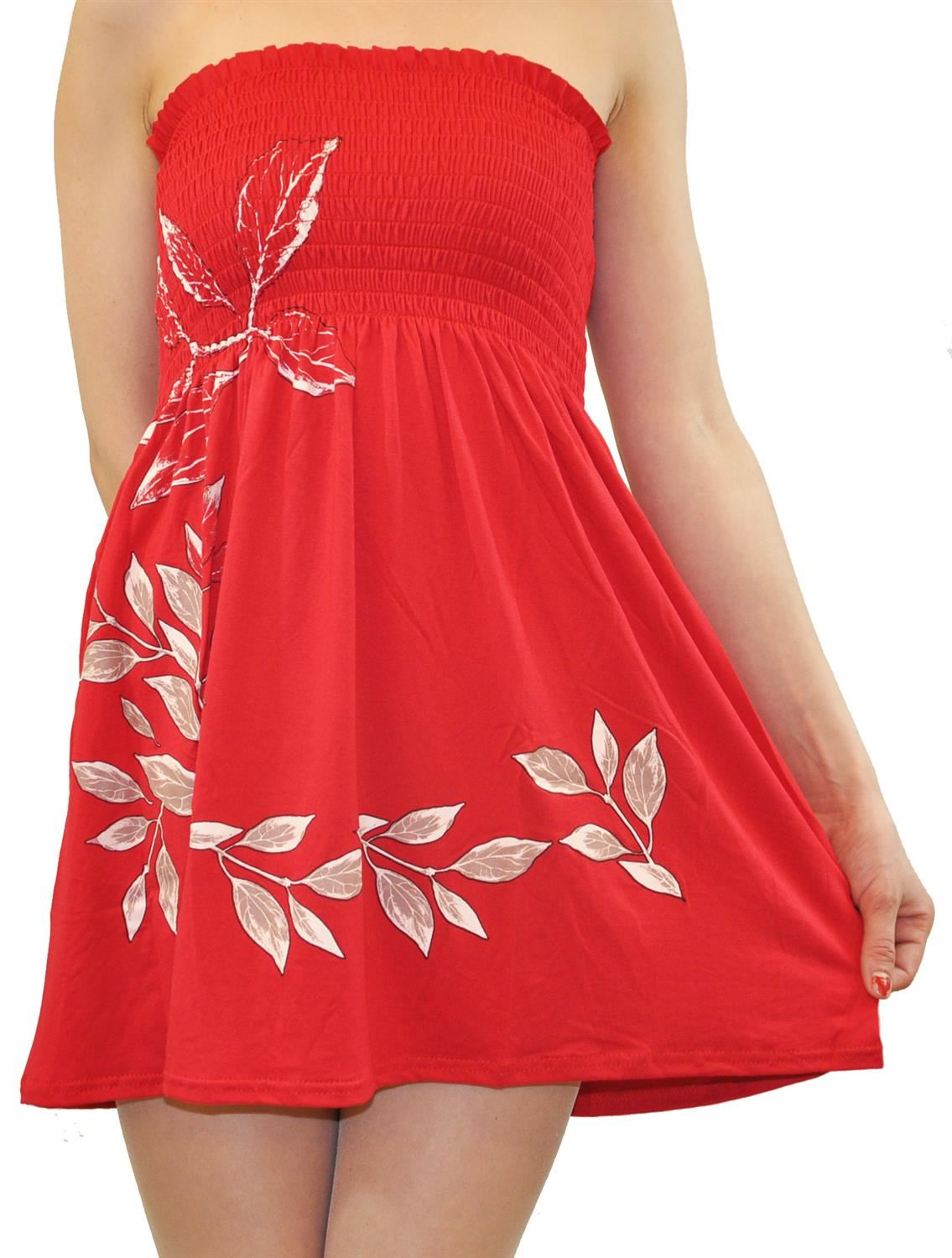 Ladies Plus Size Red Floral Strapless Sheering Boob Tube ...