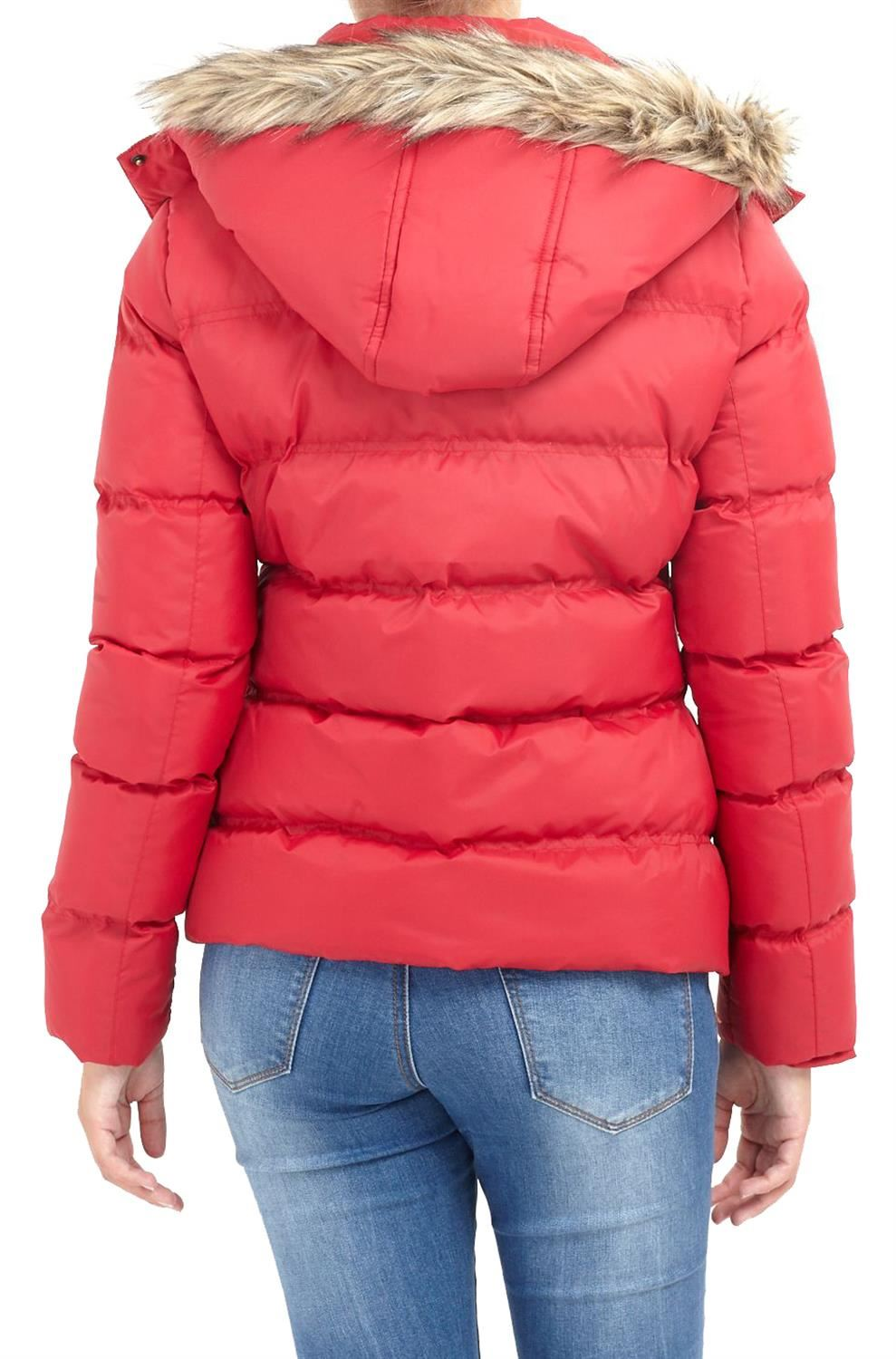 New-Womens-Funnel-Neck-Fur-Hooded-Padded-Quilted-Winter-Coat-Puffer-Parka-Jacket thumbnail 6