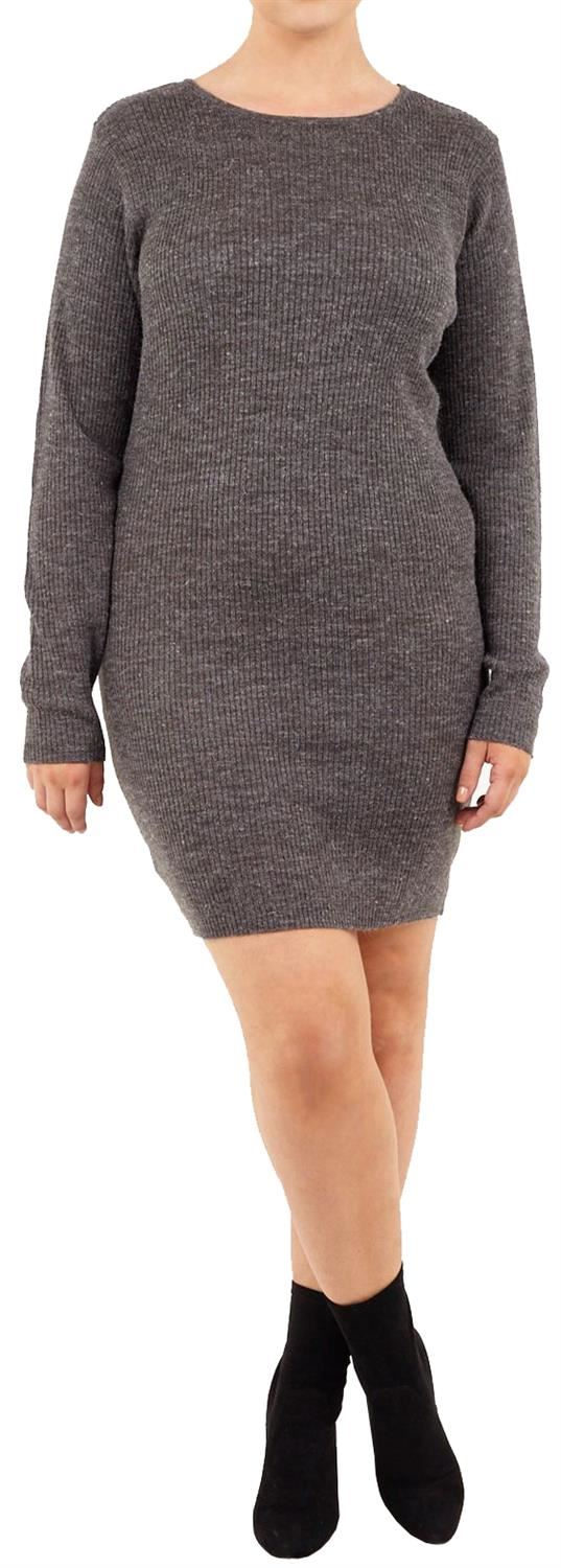 New Ladies Plus Size Longline Ribbed Scoop Neck Bodycon Fit Knitted ...