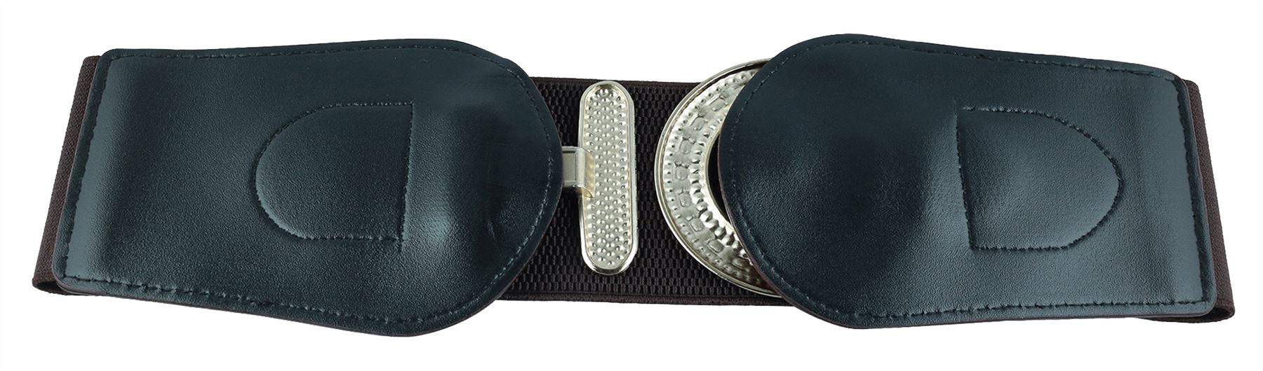 Ladies-Brown-Print-PU-Leather-Circle-Buckle-Wide-Stretch-Elasticated-Belts