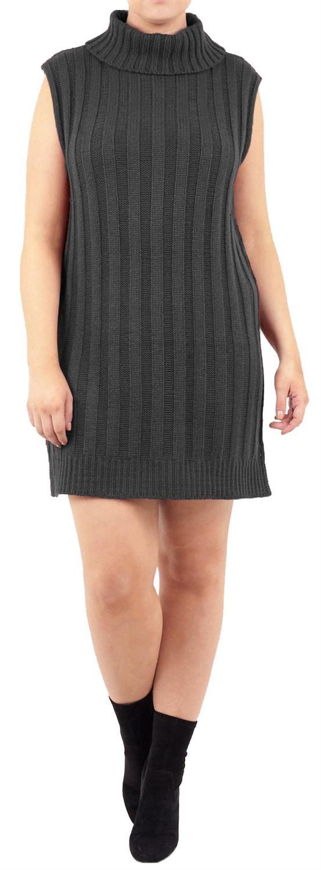 New-Women-s-Plus-Size-Longline-Sleeveless-Turtle-Neck-Knit-Pullover-Jumper-Dress