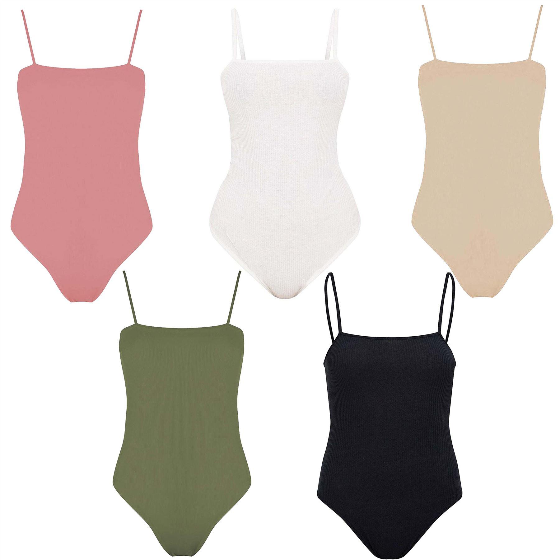 Ladies Cami Bralet Square Neck Strappy Bodysuit Leotard Body Top