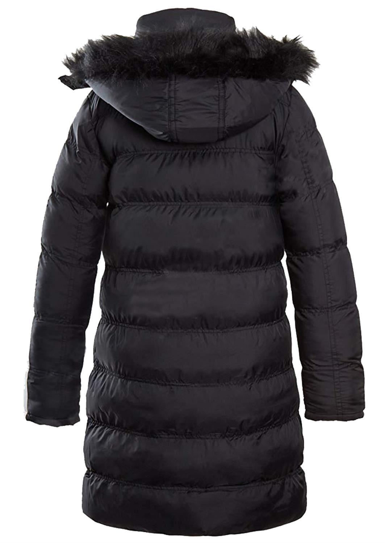 Nouveau-Femme-long-fausse-fourrure-col-matelasse-gilet-manteau-d-039-hiver-a-Capuche-Parka miniature 8