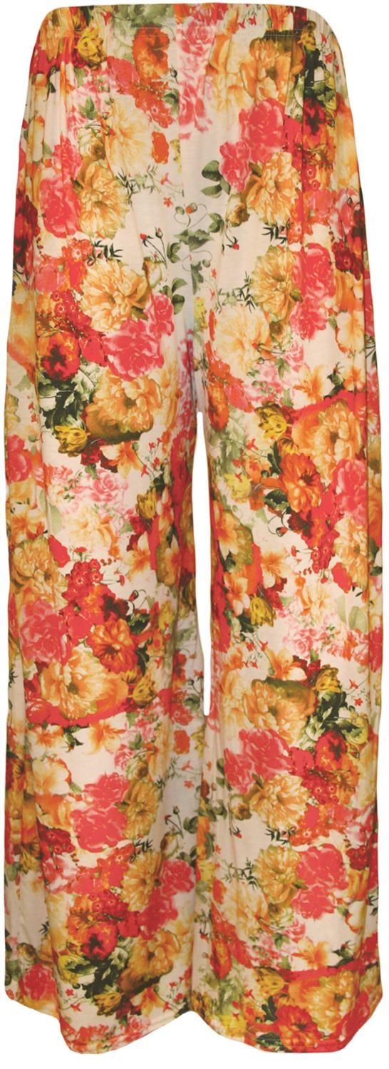 thumbnail 34 - New Women Casual Flare Wide Leg Long Floral Printed Palazzo Baggy Trousers