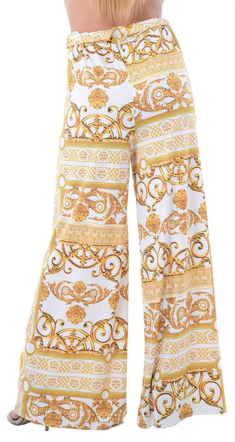 thumbnail 20 - New Women Casual Flare Wide Leg Long Floral Printed Palazzo Baggy Trousers