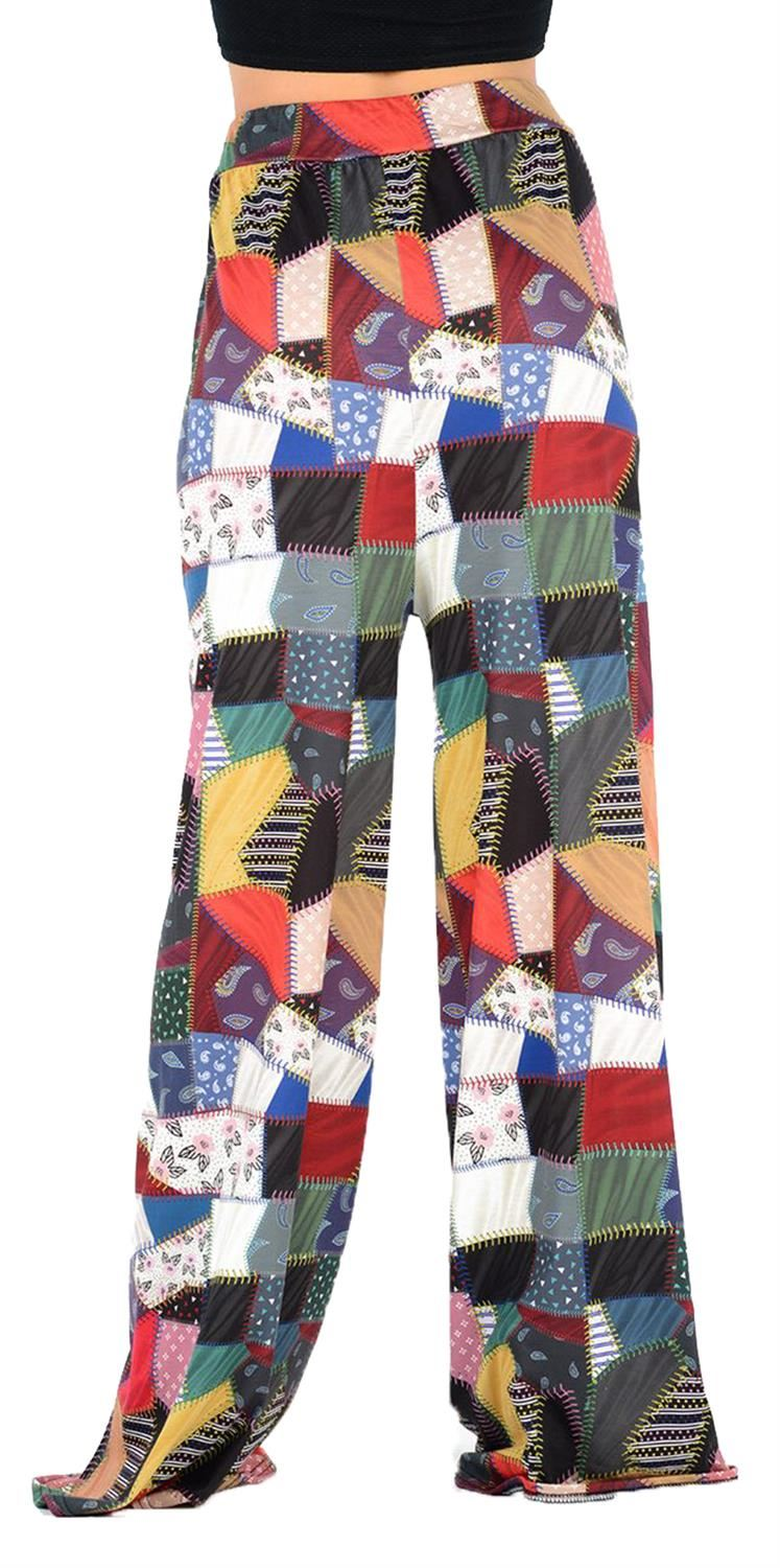 thumbnail 7 - New Women Casual Flare Wide Leg Long Floral Printed Palazzo Baggy Trousers
