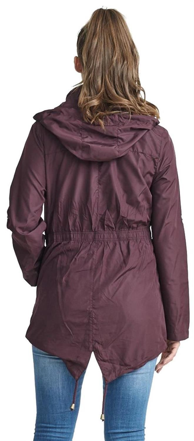 New-Ladies-Hooded-Plain-Contrast-Zip-Showerproof-Parka-Raincoats-Jackets thumbnail 18