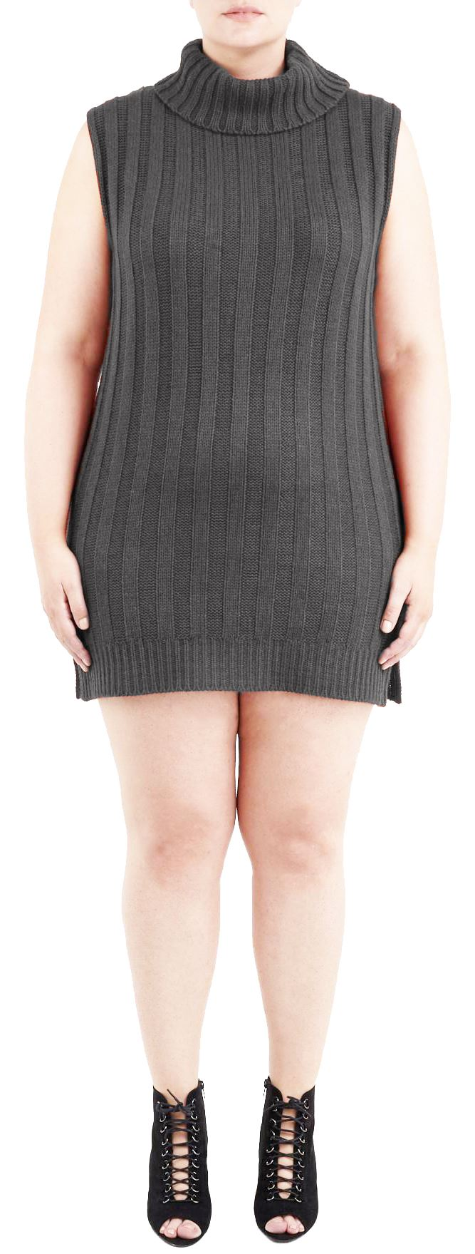 Womens Plus Size Turtle Neck Sleeveless Knit Pullover Jumper Dress ...