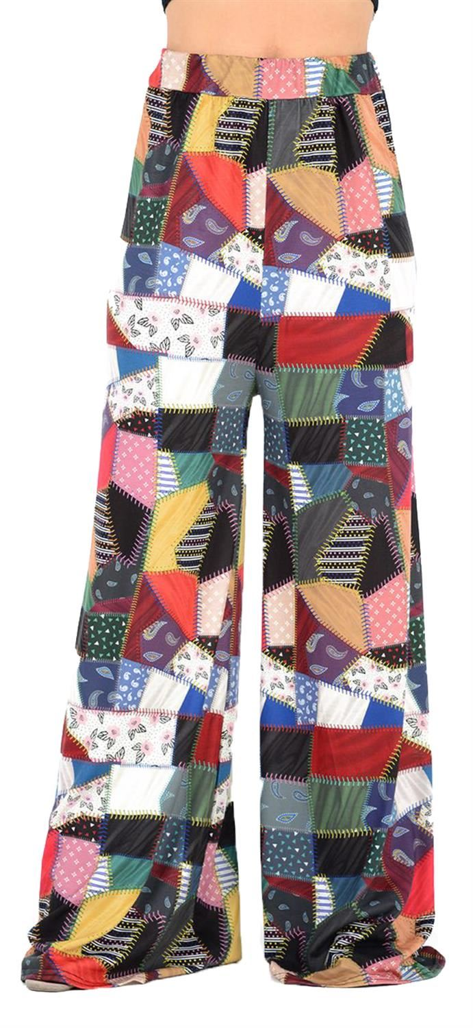 Womens Ladies Multi Colour Floral Print Flared Palazzo Trousers Pants UK 8-26