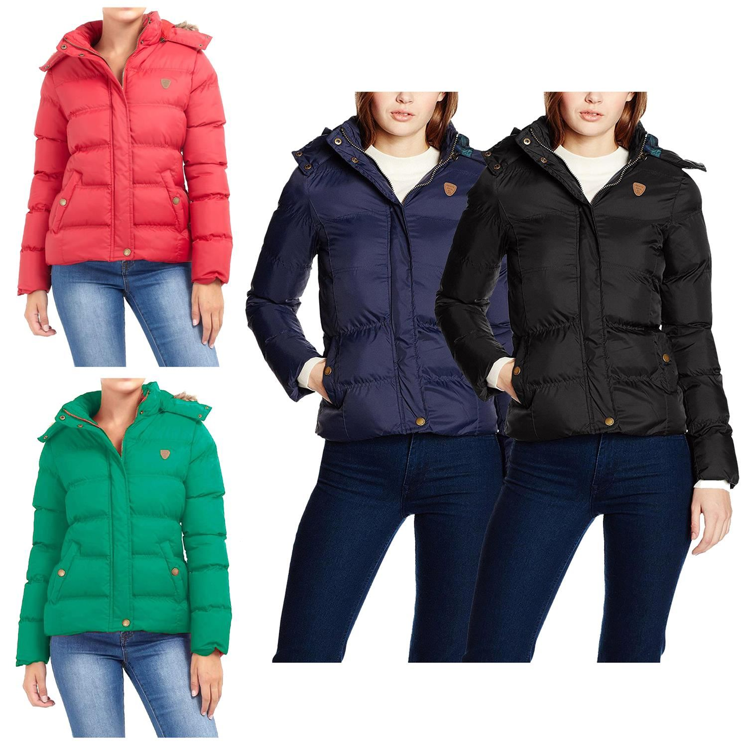 New Ladies Brave Soul Faux Fur Trim Hooded Padded Quilted Puffer Hop Jacket Coat