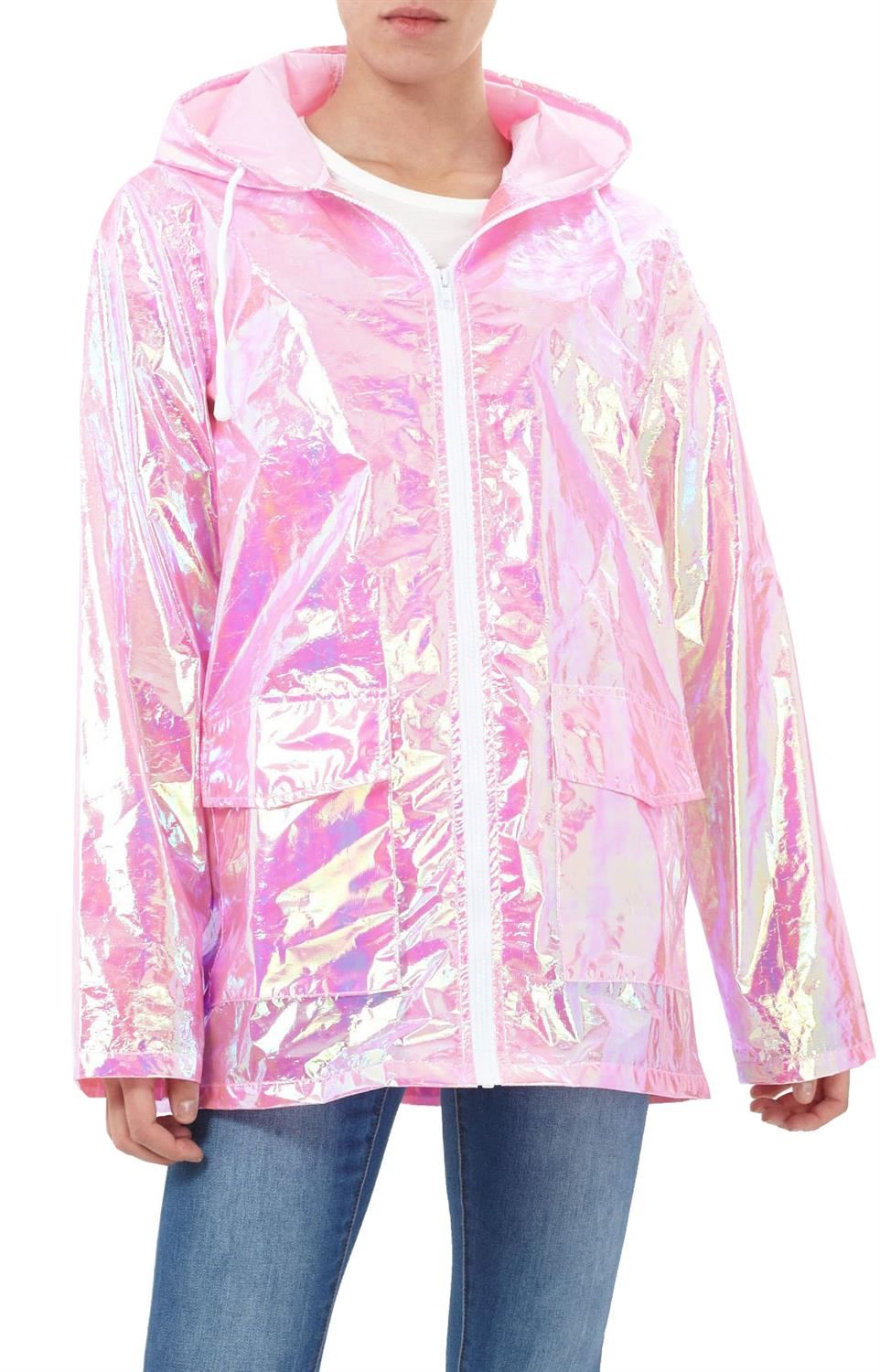 Womens-Waterproof-Holographic-Zipped-Neon-Festival-Mac-Jacket-Parka-Raincoat thumbnail 3