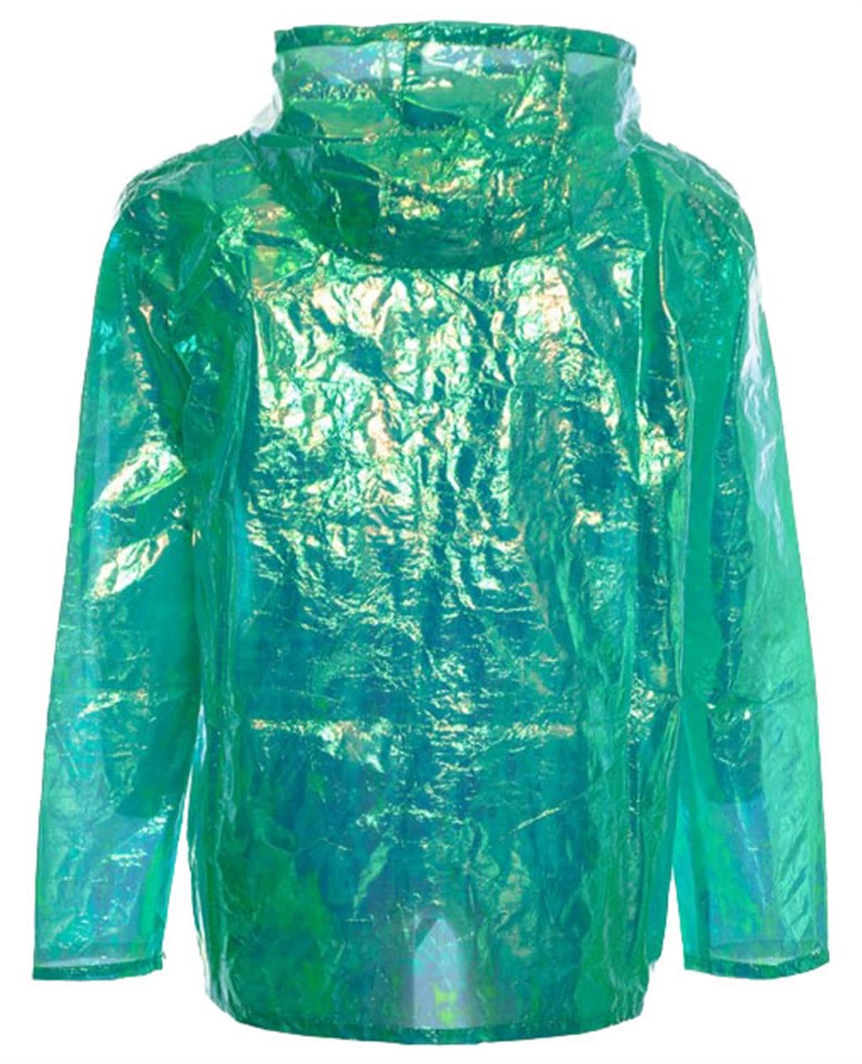 Womens-Waterproof-Holographic-Zipped-Neon-Festival-Mac-Jacket-Parka-Raincoat thumbnail 13