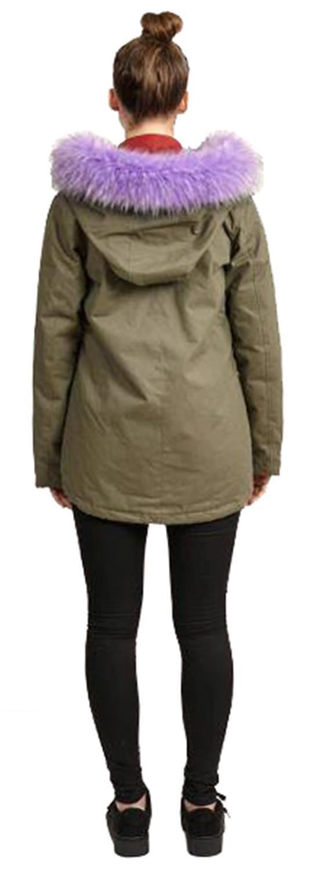 Womens faux Fur Detail Short Cotton Twill Parka Hooded Jackets Coats 8-16