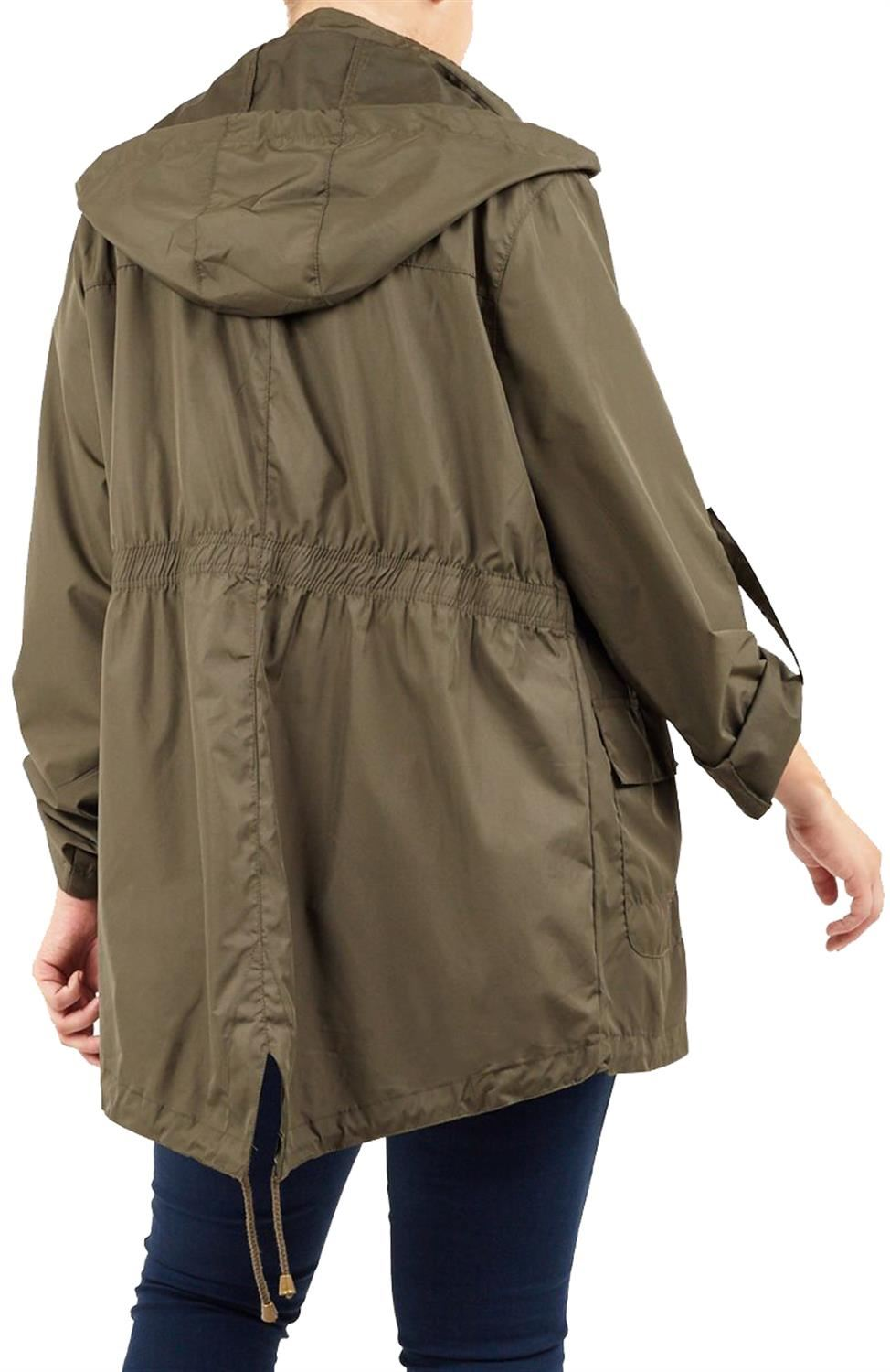 New-Ladies-Hooded-Plain-Contrast-Zip-Showerproof-Parka-Raincoats-Jackets thumbnail 15