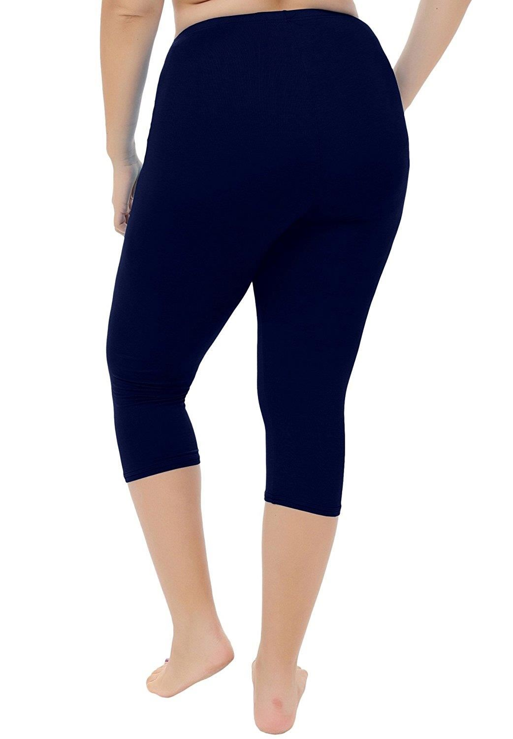 New Women/'s Plus Size Capri Cropped Solid Leggings Soft Stretchy One Size Pink