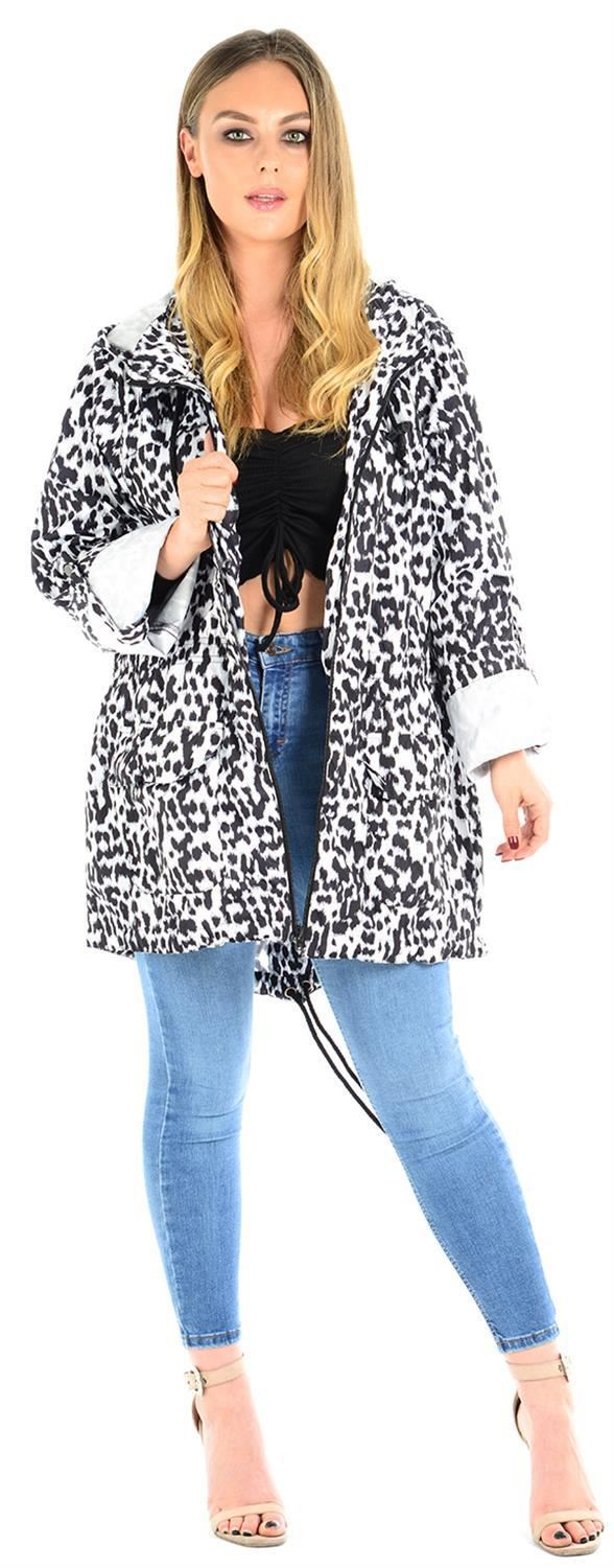 Ladies-Plus-Size-Plain-Printed-Parka-Hooded-Fishtail-Polyester-Mac-Raincoats thumbnail 7