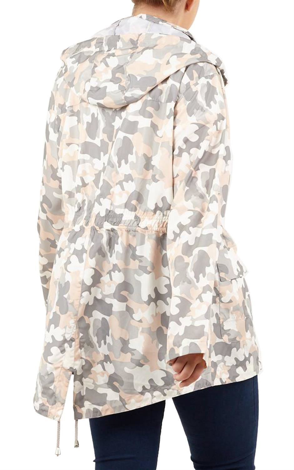 Ladies-Plus-Size-Plain-Printed-Parka-Hooded-Fishtail-Polyester-Mac-Raincoats thumbnail 13