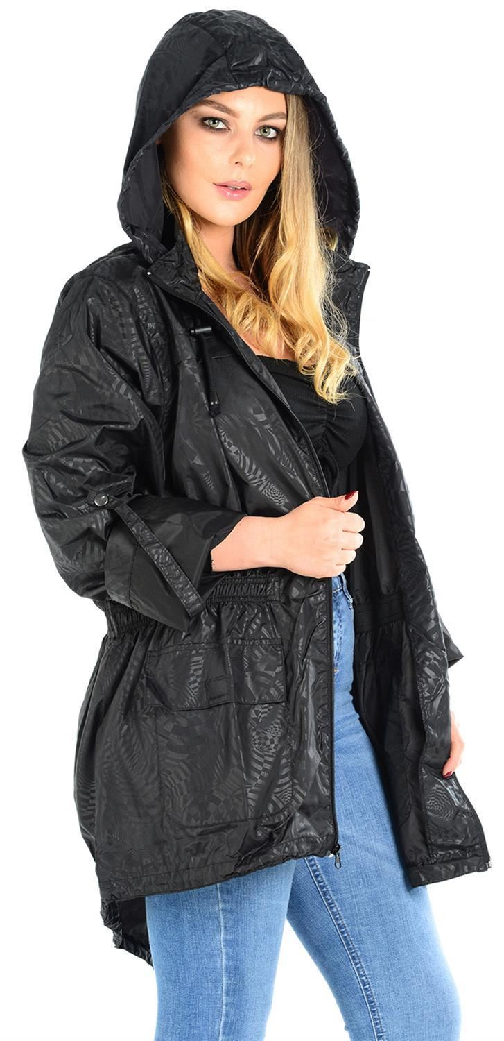 Ladies-Plus-Size-Plain-Printed-Parka-Hooded-Fishtail-Polyester-Mac-Raincoats thumbnail 73