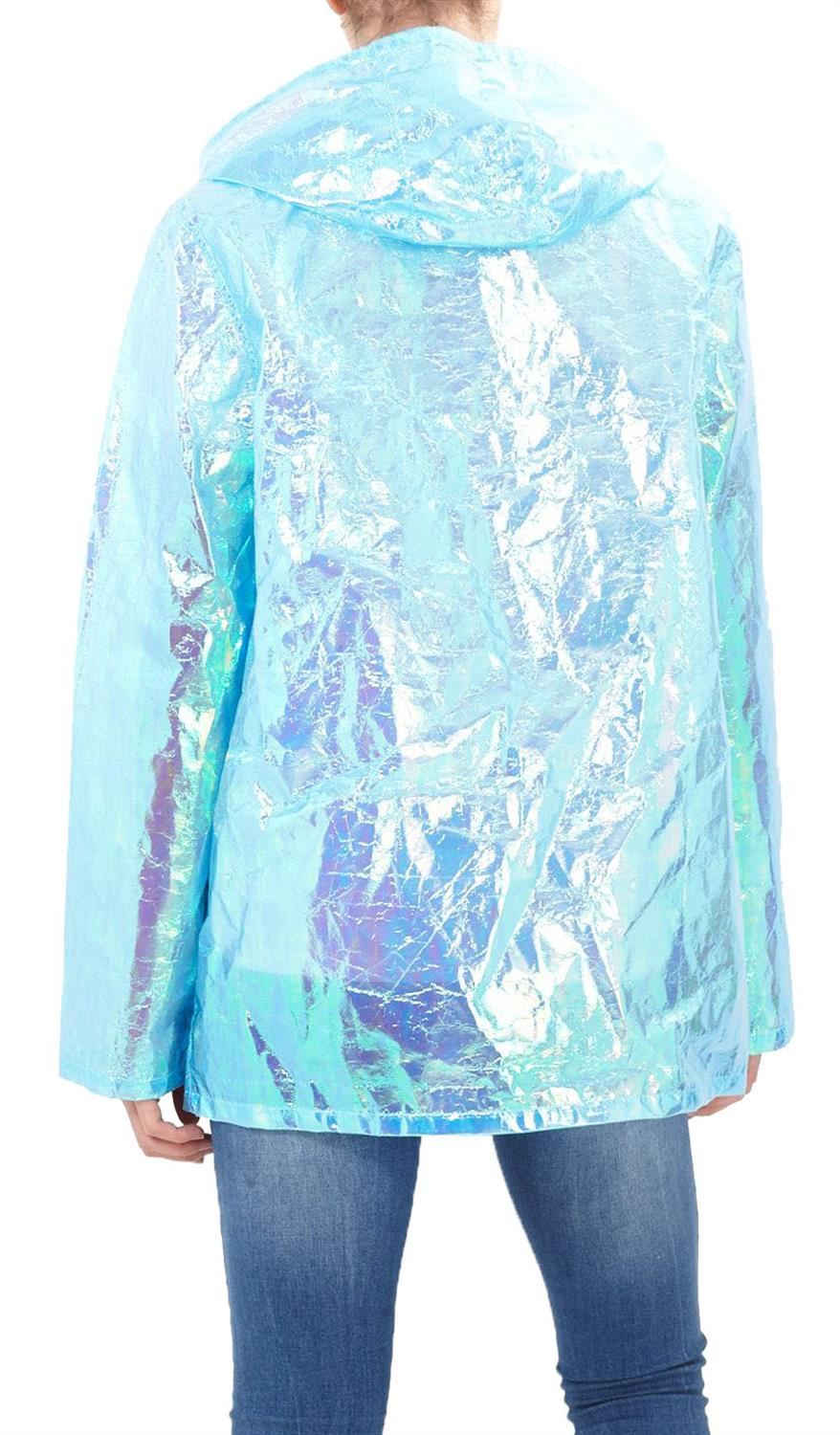 New-Ladies-Unicorn-Holographic-Zipped-Neon-Festival-Mac-Parka-Raincoat-Jacket thumbnail 5