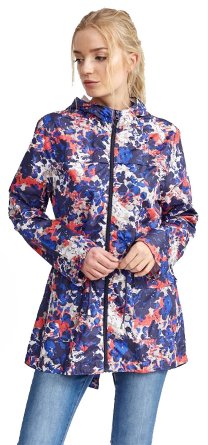 Ladies-Plus-Size-Plain-Printed-Parka-Hooded-Fishtail-Polyester-Mac-Raincoats thumbnail 3