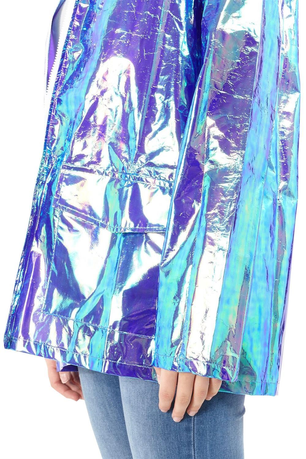 Womens-Waterproof-Holographic-Zipped-Neon-Festival-Mac-Jacket-Parka-Raincoat thumbnail 10