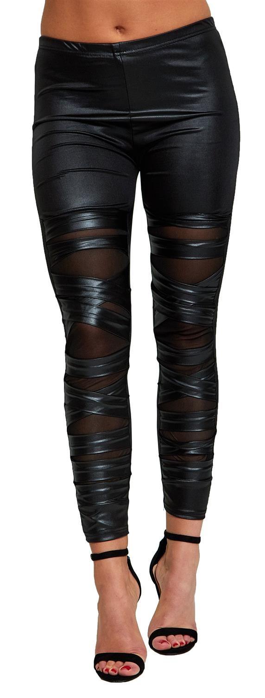 1ff1aa8c26b2b3 Womens Ruched Ripped Mesh Cross Eyelet Look Stretchy Leggings Pants ...