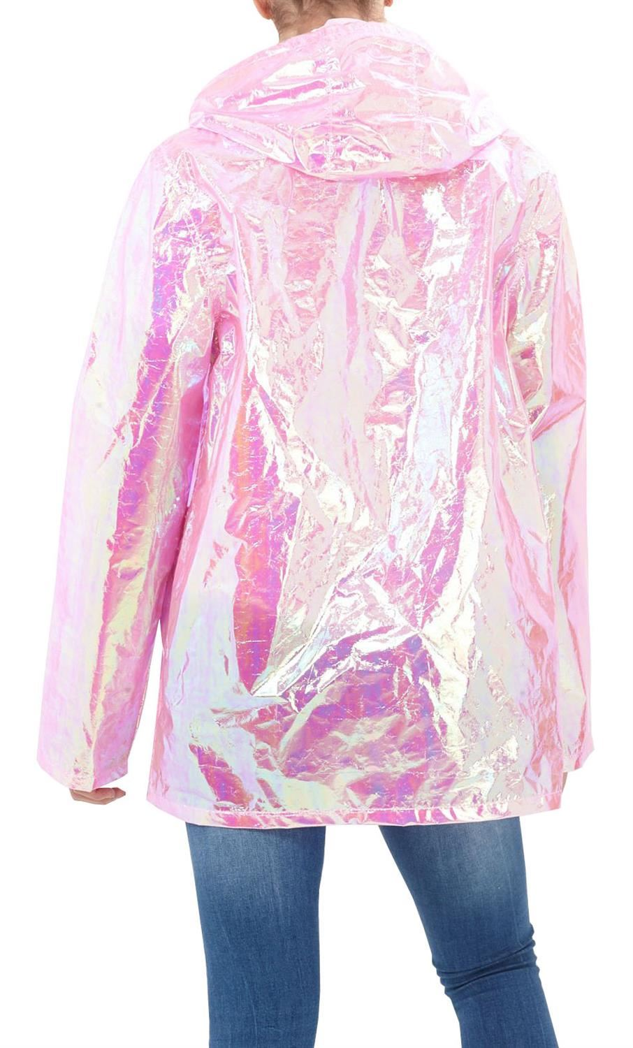 Womens-Waterproof-Holographic-Zipped-Neon-Festival-Mac-Jacket-Parka-Raincoat thumbnail 4