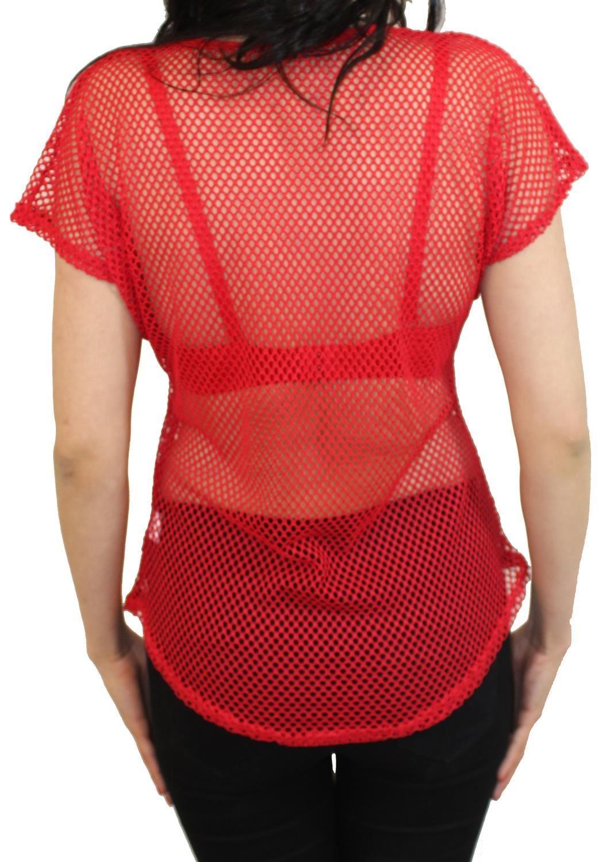 New Ladies Crochet Mesh Long Sleeve Fishnet Summer Casual Top T-Shirts 8-14