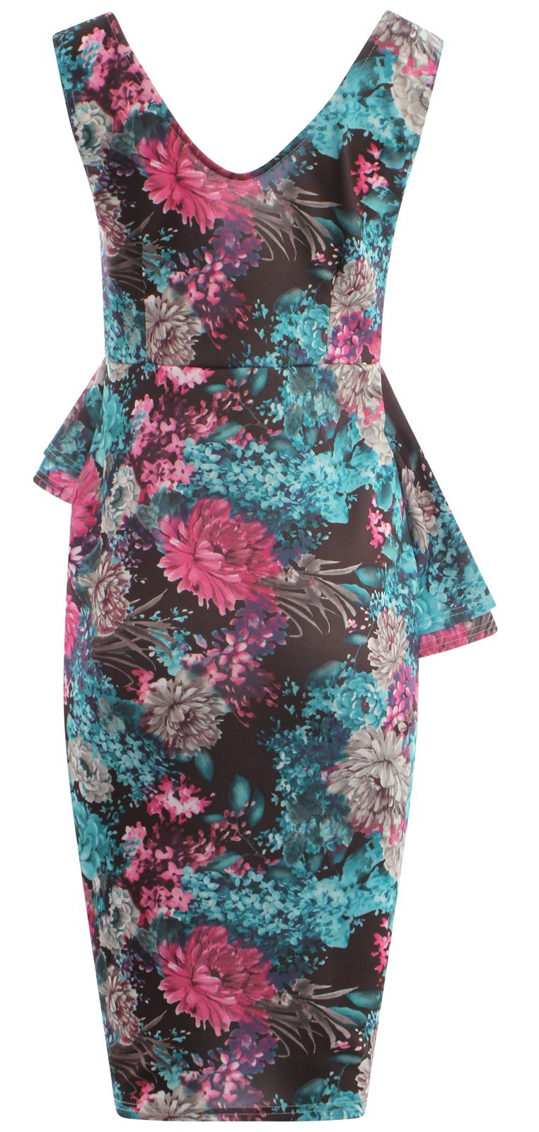 thumbnail 7 - Womens Tropical Lilly Floral Print Double Peplum Bodycon Midi Skirt Dress 8-22