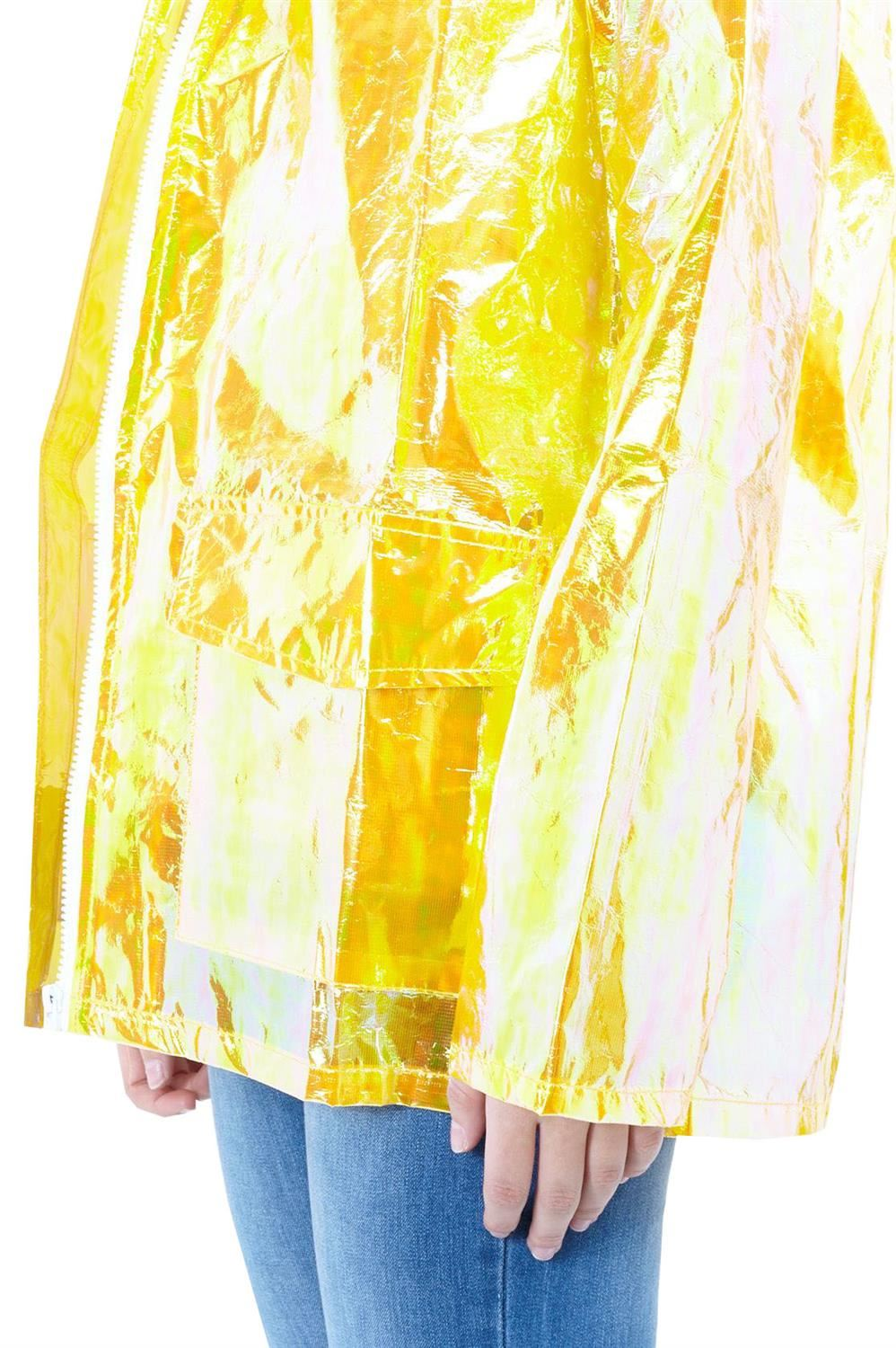 Womens-Waterproof-Holographic-Zipped-Neon-Festival-Mac-Jacket-Parka-Raincoat thumbnail 18