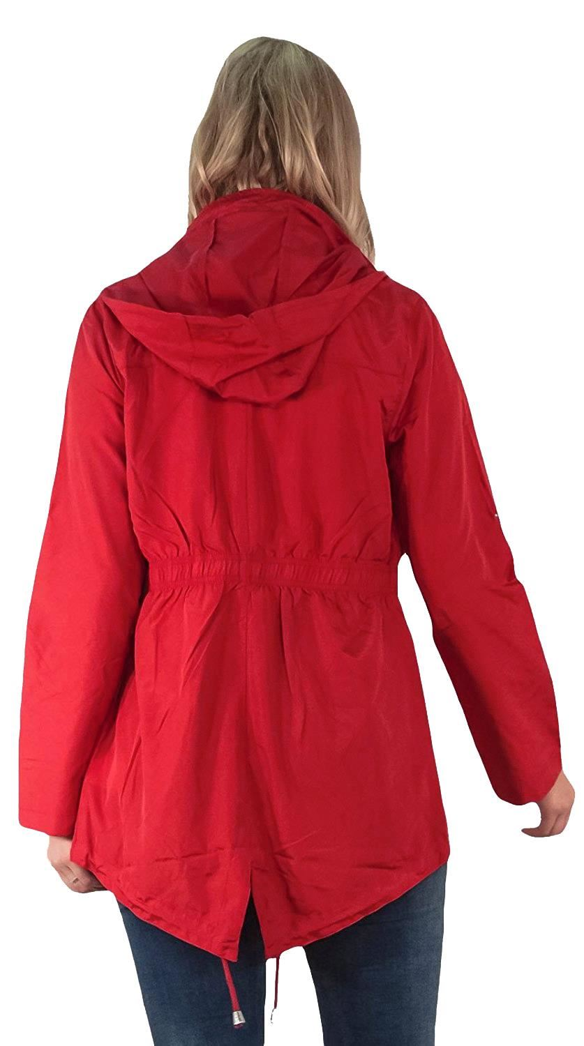 New-Ladies-Hooded-Plain-Contrast-Zip-Showerproof-Parka-Raincoats-Jackets thumbnail 23