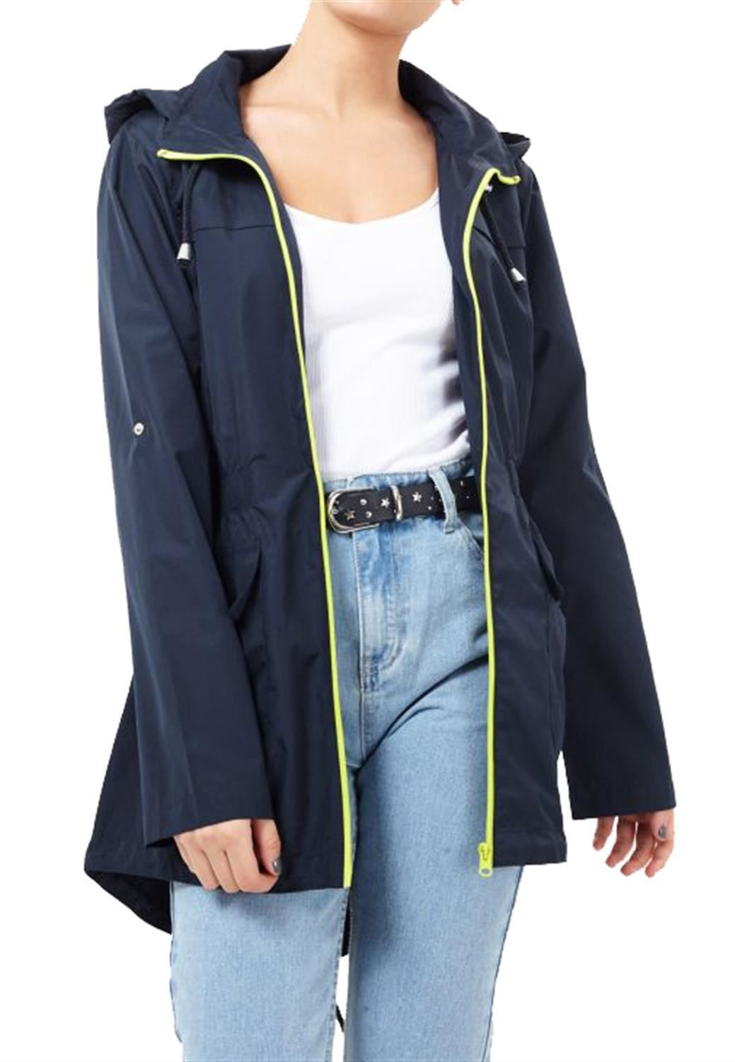 Ladies-Plus-Size-Plain-Printed-Parka-Hooded-Fishtail-Polyester-Mac-Raincoats thumbnail 64