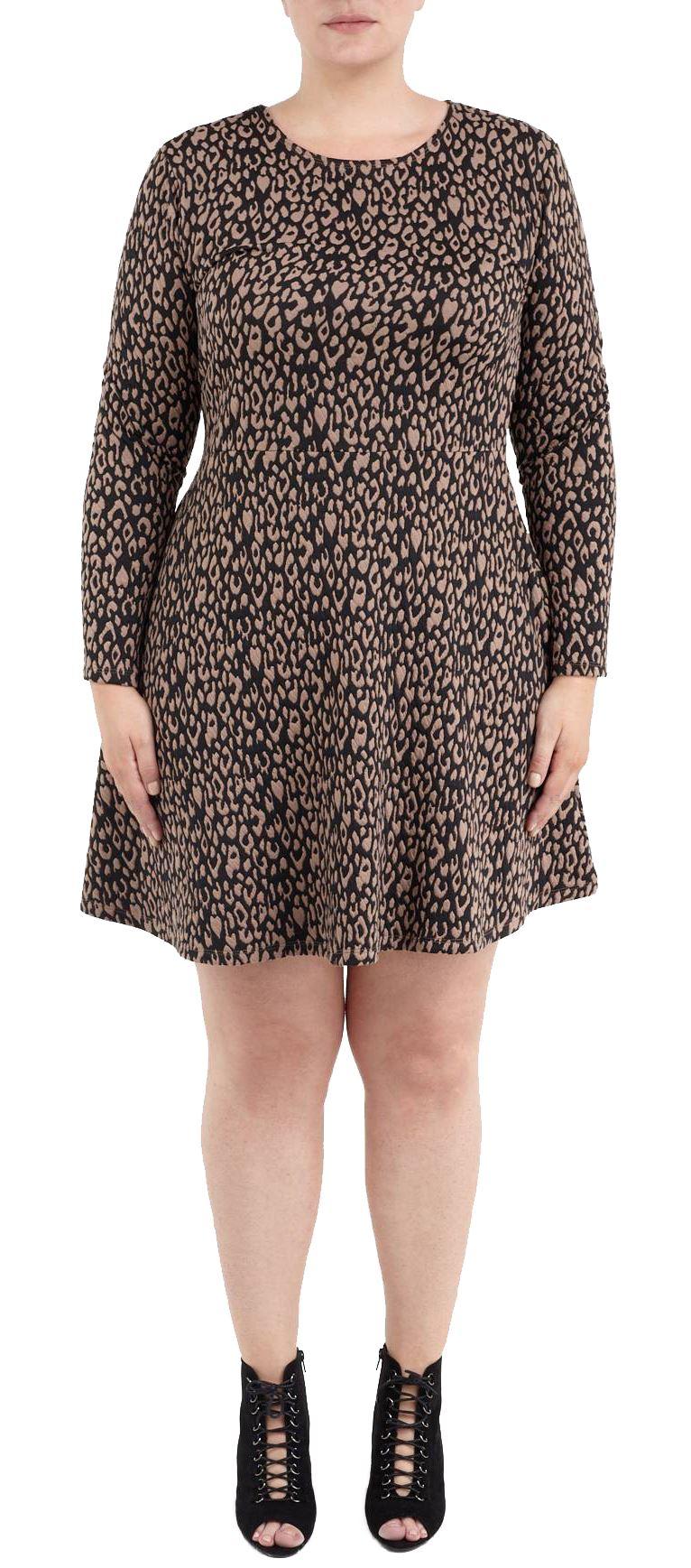 Nouveau-Femmes-Plus-Taille-Animal-Impression-Jacquard-Patineur-Robe-44-50