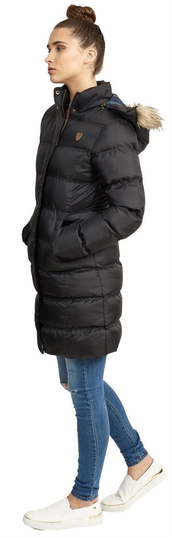 Nouveau-Femme-long-fausse-fourrure-col-matelasse-gilet-manteau-d-039-hiver-a-Capuche-Parka miniature 3