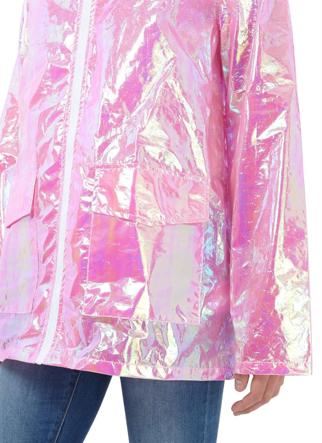 Womens-Waterproof-Holographic-Zipped-Neon-Festival-Mac-Jacket-Parka-Raincoat thumbnail 5