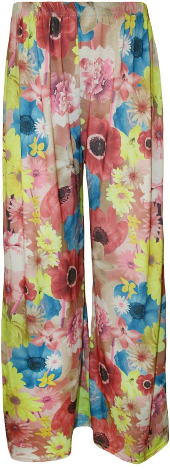 thumbnail 38 - New Women Casual Flare Wide Leg Long Floral Printed Palazzo Baggy Trousers