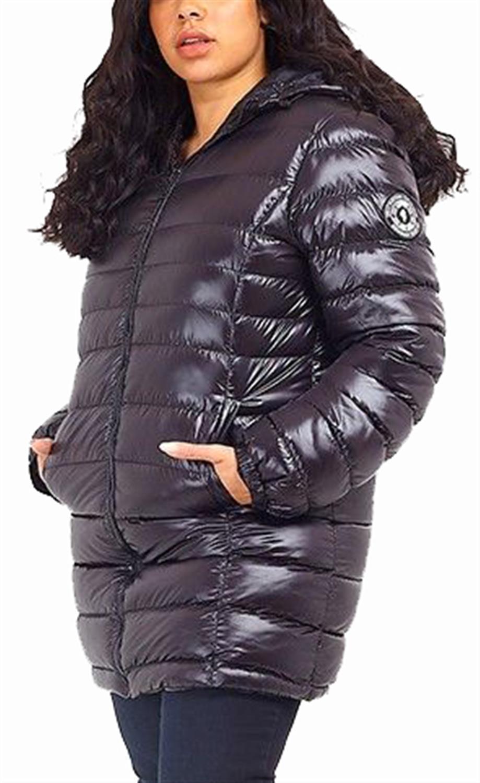 Details zu New Womens High Shine Cire Finish Long QuiltedPadded Puffer Style Jacket Coats