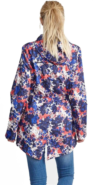 Ladies-Plus-Size-Abstract-Print-Polyester-Mac-Raincoat-Showerproof-Jackets-8-24 thumbnail 4