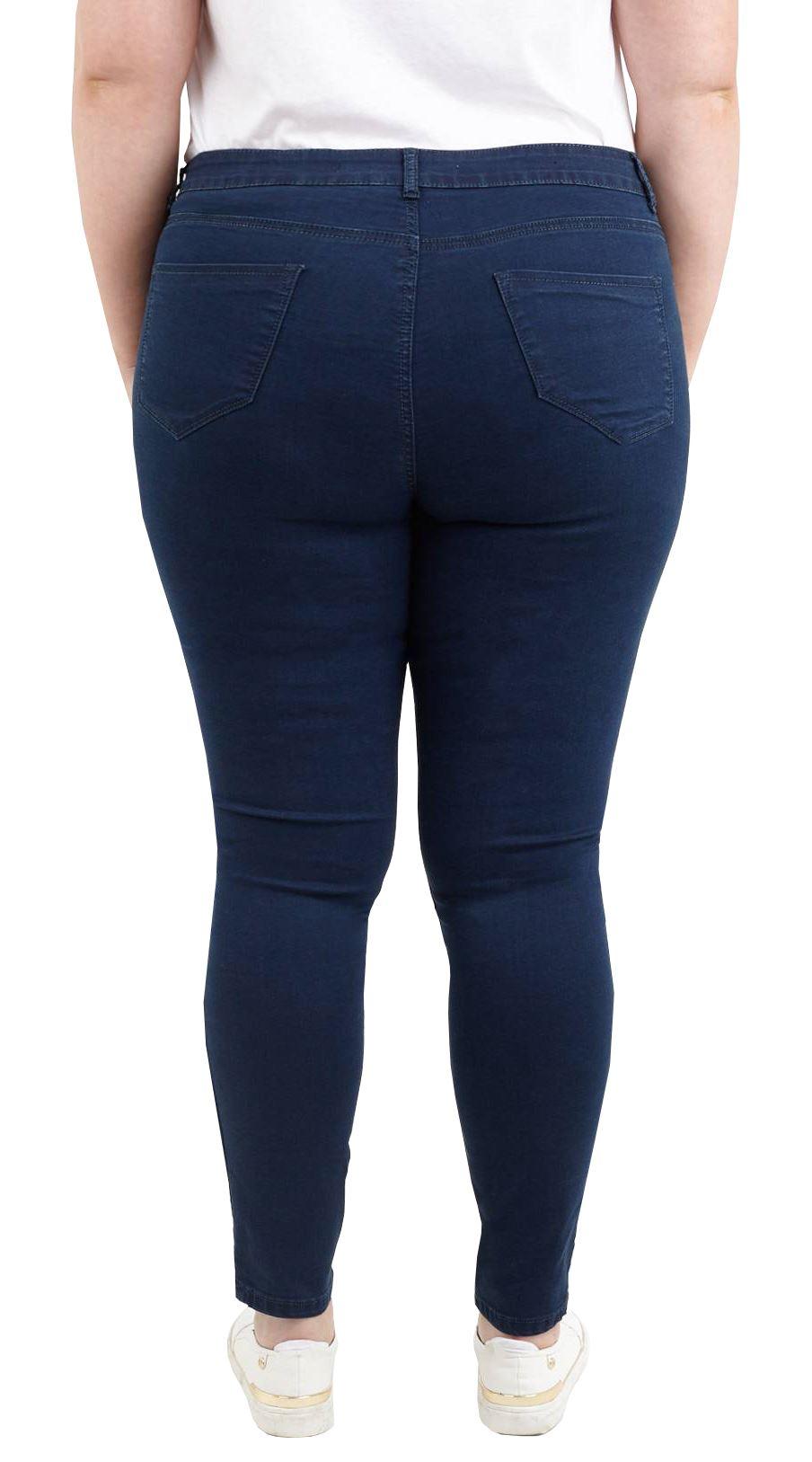 Femme Dark Wash Denim Stretch Coupe Droite Jean Poches Zippées Femmes Taille Plus