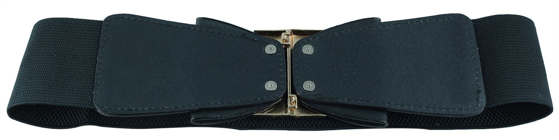 Ladies-Elasticated-Pu-Double-Bow-Stretch-Interlock-Buckle-Cinch-Belts-One-Size
