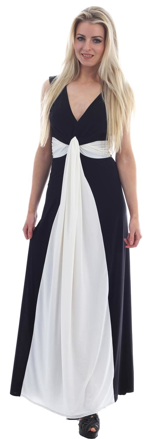Xclusive Collection New Womens Plus Size Grecian Knot Contrast Color Panel Soft Long Maxi Dress Black Green