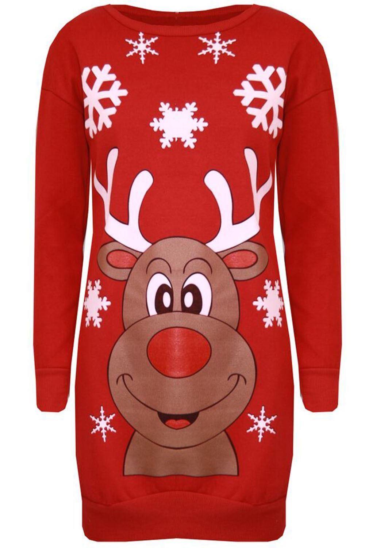 New Womens Santa Hat HO HO Print Christmas Pullover Sweatshirt Jumpers 8-22