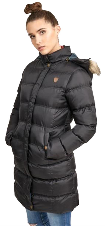 Nouveau-Femme-long-fausse-fourrure-col-matelasse-gilet-manteau-d-039-hiver-a-Capuche-Parka miniature 5